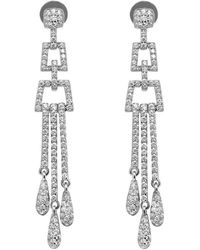 Lustre of London - White Deco Chandelier Earrings - Lyst