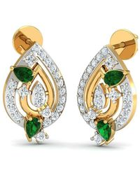 Diamoire Jewels - 18kt Yellow Gold 0.29ct Pave Diamond Infinity Earrings With Emerald - Lyst