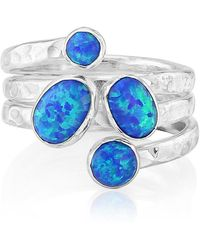 Lavan - Silver Opal Hammered Ring With Dark Blue Opal - Lyst