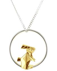 Origami Jewellery Sterling Silver & Gold Plate Rabbit Circle Origami Necklace FfvJL