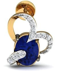 Diamoire Jewels Oval Cut Blue Sapphire and Diamond Earrings in 14kt Yellow Gold Jj4EnMSoZ