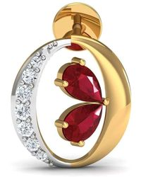 Diamoire Jewels Nature Inspired Ruby And Premium Quality Diamond Earrings In 14kt Yellow Gold
