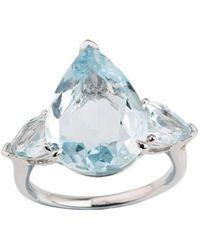 Emily Mortimer Jewellery - Aqua Sky Blue Topaz Pear Ring - Lyst