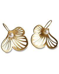 Dagmar Korecki - Flourish Silver Gold-plated Drop Earrings With Freshwater Pearls - Lyst
