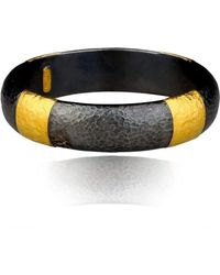 "Lika Behar Collection - Oxidised Silver And Gold""ancora"" Gold Band Fused Bracelet - Lyst"