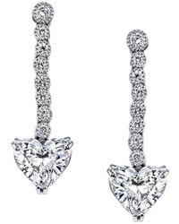 Harry Kotlar - Heart Shape Diamond Drop Earrings - Lyst