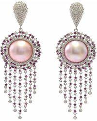 Ri Noor - Starburst Pink Pearl Ruby And Diamond Earrings - Lyst