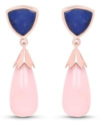 Olivia Leone - 14kt Rose Gold Plated Silver Pink Opal Dangle Earrings - Lyst