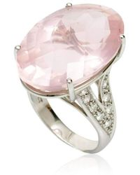 Cherie Thum - Fire And Ice Oval Rose Quartz Ring - Lyst