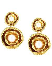 Joseph Lamsin Jewellery - Gold Vermeil Double Cup Drop Pearl Earrings - Lyst