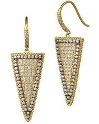 Freida Rothman - Two Tone Pave Slice Drop Earrings - Lyst