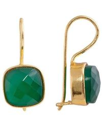 Juvi Designs - Egadi Square Faceted Gold Earring With Green Onyx - Lyst