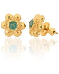 Ana Verdun - 9kt Gold & Emerald Grace Stud Earrings - Lyst