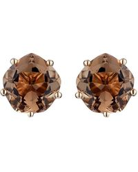 Mishanto London - Pair Of Yellow Gold & Smoky Quartz Chic Galina Ear Studs - Lyst