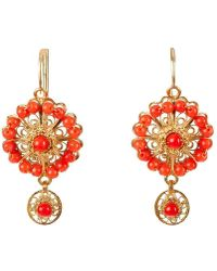 Luis Mendez Artesanos - 18kt Gold & Coral Rose Circle Earrings - Lyst
