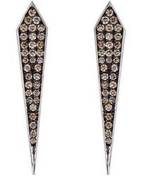 Arya Esha - Elle Champagne Diamond Stud Earrings - Lyst