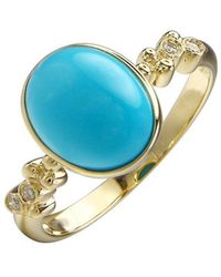 Lali Jewels - 14kt Yellow Gold Diamond And Turquoise Ring - Lyst