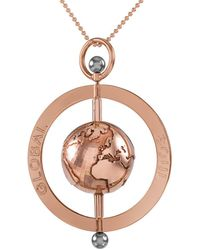 GlobalSoul Jewellery - Rose Gold Vermeil Peace Spinning Globe Pendant - 50mm - Lyst