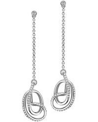 Fei Liu - Rhodium Plated Serenity Stud Drop Earrings - Lyst