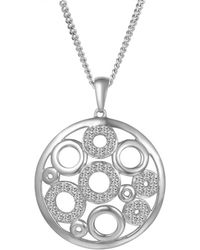 Amore Argento - Rhodium Plated Sterling Silver Halo Necklace - Lyst