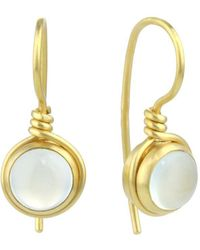 Prism Design - 9kt Gold Aqua Chalcedony Earrings - Lyst