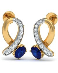 Diamoire Jewels - Oval Sapphire And Diamond Ribbon Earrings In 18kt Gold - Lyst