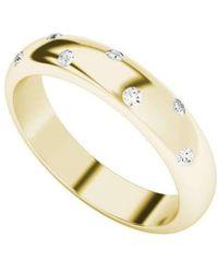 StyleRocks - Diamond 9kt Yellow Gold Domed Ring - Lyst