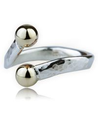 Lavan - Handmade Single Heavy 9kt And Hammered Silver Torq Ring - Lyst