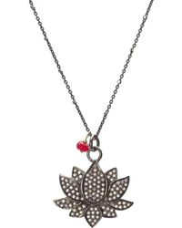 Nadean Designs - Pave Diamond Oxidised Silver Lotus Flower Necklace - Lyst