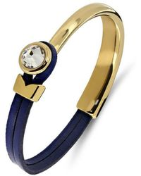 Yan Neo London - Poppy Navy & Gold Leather Bracelet - Lyst