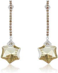 Nehita Jewelry - Green Amethyst Champagne Diamond Earrings - Lyst