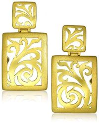 Alex Soldier - 18kt Gold Ornament Earrings With Contrast Texture - Lyst