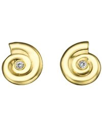 Ayalla Joseph - Shells Earrings Yellow Gold With Diamonds - Lyst