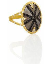 Freida Rothman - Black Stone Striped Cocktail Ring - Lyst