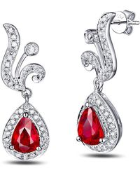 SILVER YULAN - Pear Cut Ruby Diamond Earrings - 1.0ct Rubies - Lyst