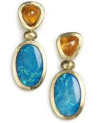 Julia Lloyd George - 18kt Yellow Gold Spessartite & Opal Drop Earrings - Lyst