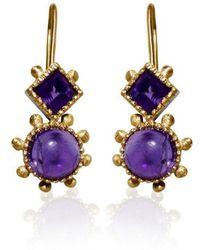 Deci London - Aurora Double Drop Amethyst Hook Earrings - Lyst