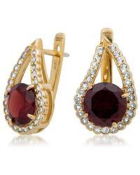 Drukker Designs - Yellow Gold Garnet Earrings - Lyst