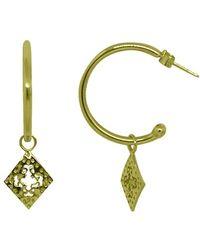 Murkani Jewellery - Gold Diamond Medium Hoop Earrings - Lyst