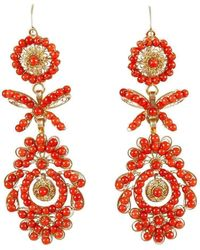 Luis Mendez Artesanos - 18kt Gold & Seed Coral Clock Earrings - Lyst