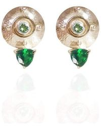 Jane North - Targe Stud Earrings Stud In 18kt Yellow Gold Vermeil With Emerald Coloured Hard Mass And Peridot - Lyst