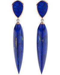 MARCELLO RICCIO - Lapis Lazuli & Diamond Silver Rose Gold Plated Earrings - Lyst