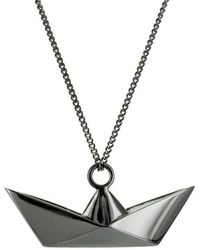 Origami Jewellery - Boat Black Silver Necklace - Lyst