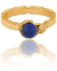 Vurchoo - Caleb Floral Yellow Gold Vermeil And Lapis Ring - Lyst