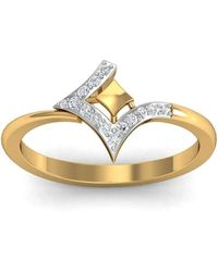 Diamoire Jewels Graceful H Shaped 18Kt Yellow Gold Diamond Ring yVrwN8qd