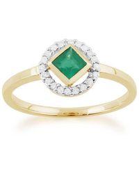 Gemondo Jewellery - Emerald And Diamond Geometric Halo Ring - Lyst