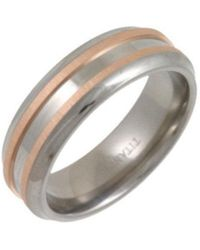 Star Wedding Rings - Titanium And 9kt Rose Gold Inlay Flat Court Shape Matt Embossed Ring - Lyst