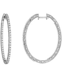 Penny Preville - Oval Diamond White Gold Hoop Earrings - Lyst