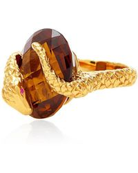Alexandra Alberta - Yellow Gold Plated Gaia Ring With Whisky Quartz - Lyst