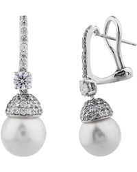 Fantasia by Deserio - Palladium Plated Pave Cap Pearl Drop Earring - Lyst
